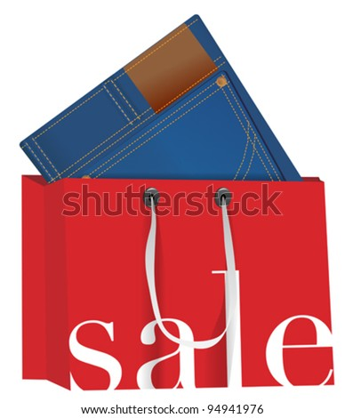 Blue Jeans With in Red Shopping Bag With Sale Sign