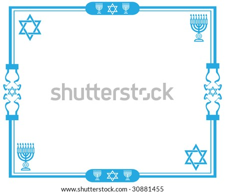 Blue jewish frame with the star of David and menorah on white background