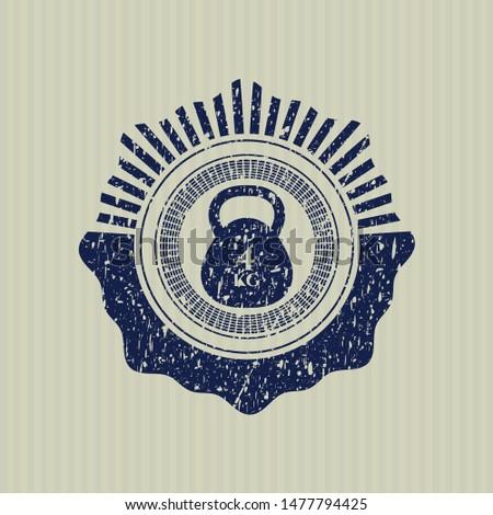 Blue 4kg kettlebell icon inside distressed grunge stamp