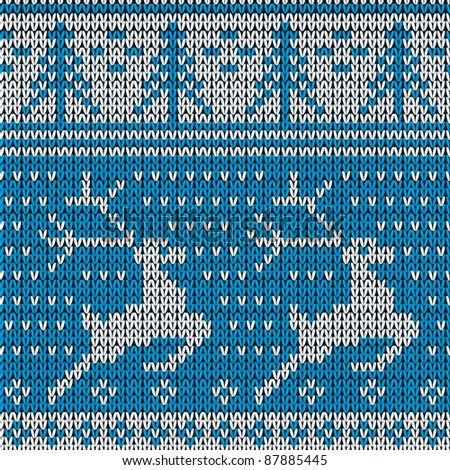 Blue knitted background with the deer. Vector illustration.