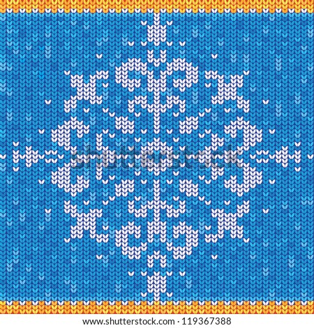 Blue knitted sweater with snowflake - stock vector