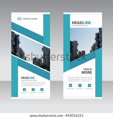 Blue label Business Roll Up Banner flat design template ,Abstract Geometric banner template Vector illustration set, abstract presentation template  #443016223