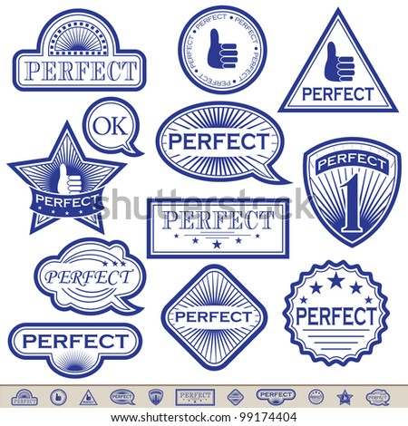 Blue Labels 'Perfect'. Everyone has a transparent background. Can be placed on a background of any color. Grouped for easy edition. In gallery also variants in gold and in silver.