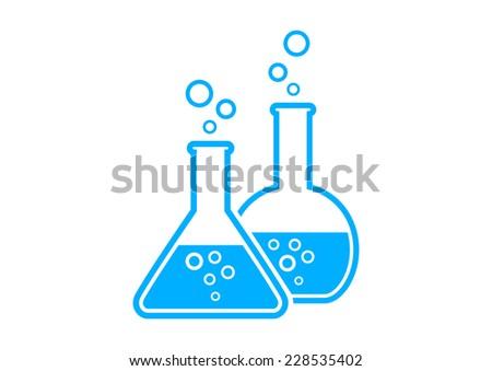 blue laboratory glass on white