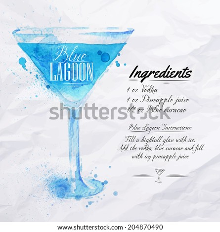 blue lagoon cocktails drawn