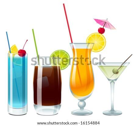Blue lagoon, Cuba Libre, screwdriver and vodka with martini