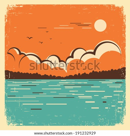 blue lake nature landscape on old paper texture.Vector vintage poster