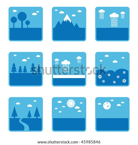 blue landscape symbols with trees and weather