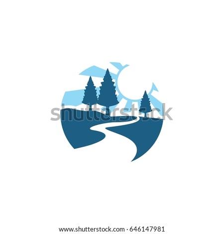 blue landscape with river logo
