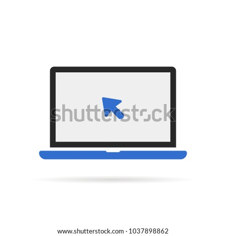blue laptop icon with cursor. concept of using a mobile computer or search click arrow for website. flat style trend modern simple abstract logotype graphic design isolated on white background