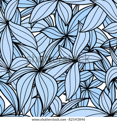 Blue leaves seamless background - stock vector