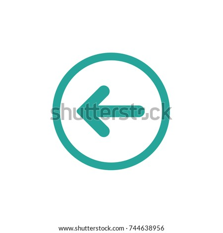 blue left rounded arrow in blue circle icon. Isolated on white. Continue icon.  Back sign. West arrow.
