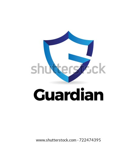 Blue Letter G Shield Guardian Logo Template