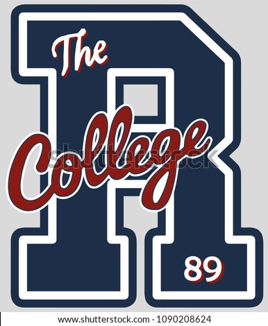 Blue letter r with college and the words and number in illustration concept.