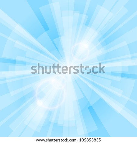 Blue light background with rays. Vector eps10 illustration