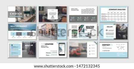Blue light Corporate presentation template. Social media pack. Set of minimal modern blog posts or Editable simple info banner, trendy book cd idea. For app, digital display style. Bright flyer.