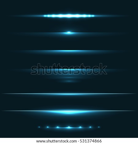 Blue light flare effect horizontal dividers vector set. Holiday party horizontal design elements.