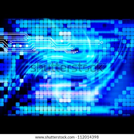 Blue light techno mosaic background.