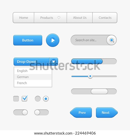 Blue Light User Interface Controls. Web Elements. Website, Software UI: Buttons, Switchers, Slider, Arrows, Drop-down, Navigation Bar, Menu, Check Box, Radio, Scroller, Input Search, Progress Bar