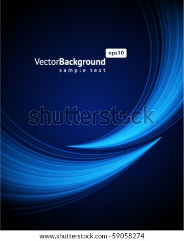 Blue light wave vector background - stock vector