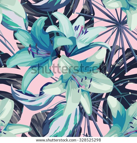 blue lily and leaves seamless