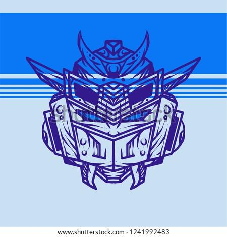 blue line art gundam head