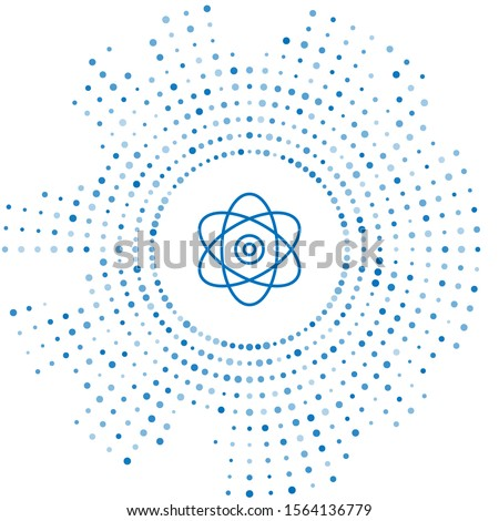 Blue line Atom icon isolated on white background. Symbol of science, education, nuclear physics, scientific research. Electrons and protons sign. Abstract circle random dots. Vector Illustration