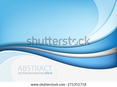 Blue line background vector curve with white space abstract for text and message modern artwork website design