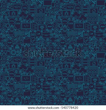 Blue Line Coding Seamless Pattern. Vector Illustration of Outline Tile Background. Programming Skills.