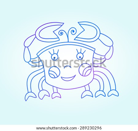 blue line drawing of sea animal, underwater decorative crab, graphic design element for print or web, vector illustration eps10