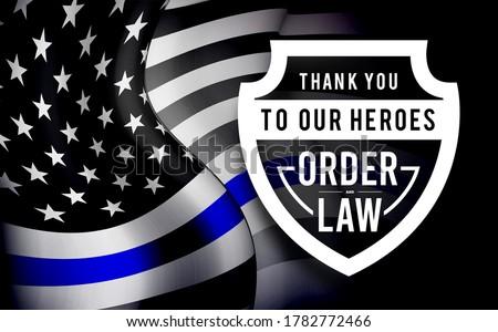Blue line flag. Police usa flag. Vector illustration