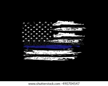blue line flag white