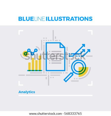 Blue line illustration concept of data analytics report and statistical document. Premium quality flat line image. Detailed line icon graphic elements with overlay and multiply color forms.