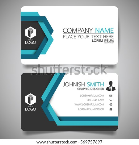 Blue line modern creative business card and name card,horizontal simple clean template vector design, layout in rectangle size.