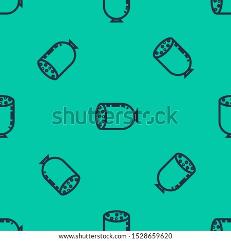 Blue line Salami sausage icon isolated seamless pattern on green background. Meat delicatessen product.  Vector Illustration