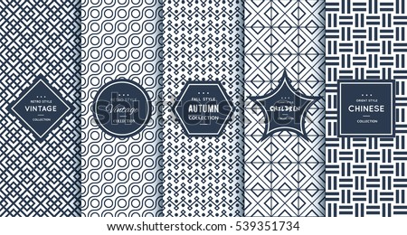 Blue line seamless pattern background. Vector illustration for elegant design. Abstract geometric photo frame. Stylish decorative bright label set. Fashion universal pattern. #539351734