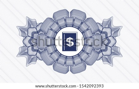 Blue linear rosette with book with money symbol inside icon inside