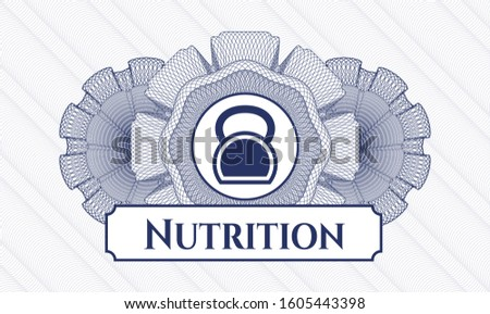 Blue linear rosette with kettlebell icon and Nutrition text inside