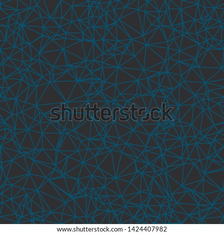 Blue lines on dark gray black background.  Triangle mesh web network.  Low poly.  Generative art (made with code).  Seamless repeat vector pattern.