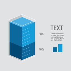 Blue liquid histogram glass bars display 40% 60%, numbers & text. Flat design illustration inforchart infographic elements for app ui ux web banner button vector isolated on white background