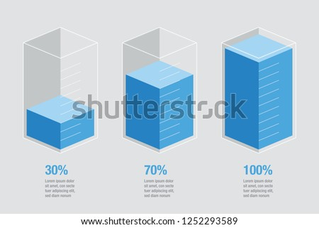 Blue liquid histogram glass bars display. 30% 70% 100% numbers & text. Flat design illustration inforchart infographic elements for app ui ux web banner button vector isolated on white background