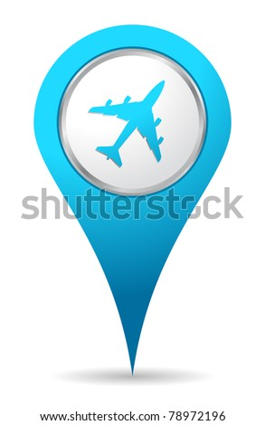blue location airplane icon