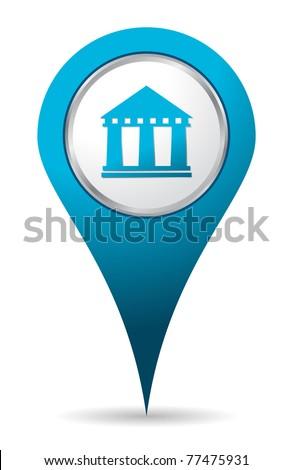 blue location bank icon