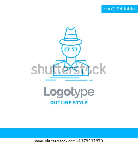 07284b9c Blue Logo design for Detective, hacker, incognito, spy, thief. Business  Concept