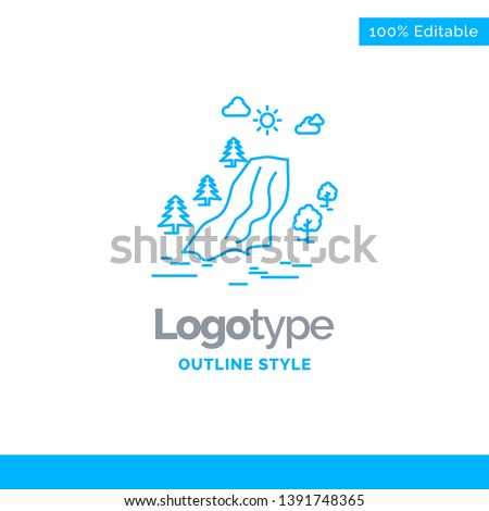 blue logo design for waterfall