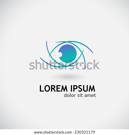 blue logo symbol eye vector