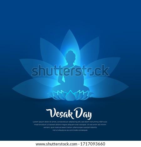 Blue Lord Buddha Vesak greetings background or Blue celebration Vesak day with Buddha and lotus