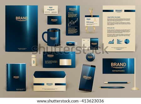 Blue luxury branding design kit for hotel. Premium corporate identity template. Business stationery mock-up and documentation with logo. Editable vector illustration: folder, envelope, cup, card, etc.