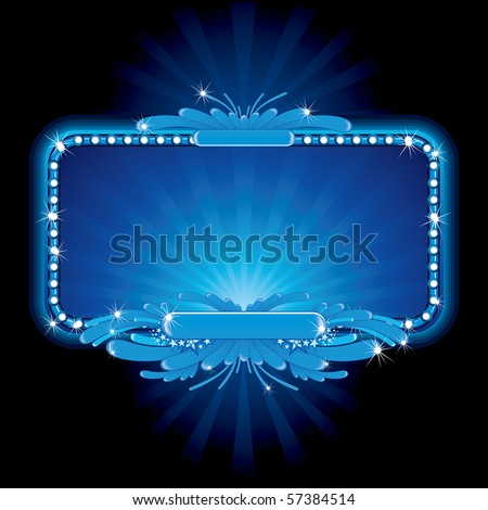 Blue luxury neon sign-vector image, no meshes used