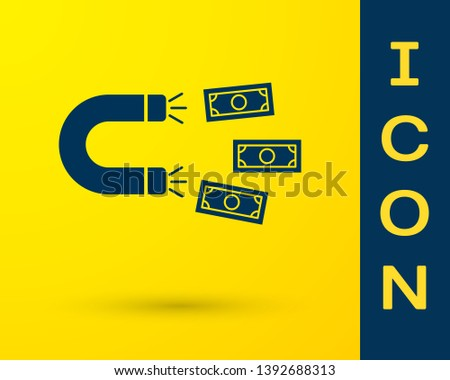 Blue Magnet with money icon isolated on yellow background. Concept of attracting investments, money. Big business profit attraction and success. Vector Illustration